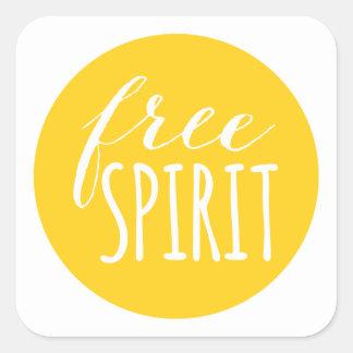 free spirit, word art, text design square sticker