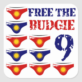 Free the budgie 9 square sticker