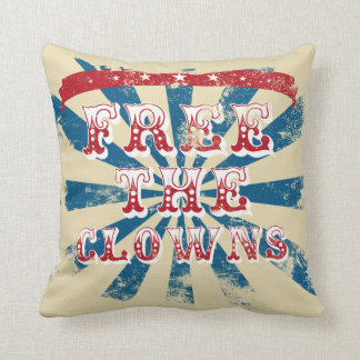 Free the clowns throw pillow