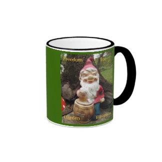 Free the Garden gnomes Ringer Coffee Mug