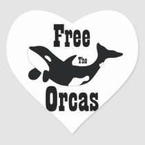 Free The Orcas Heart Sticker