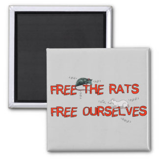 Free The Rats 2 Inch Square Magnet