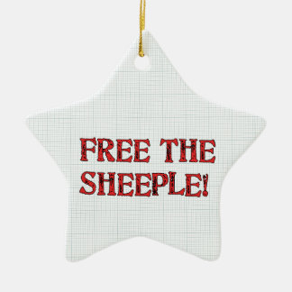 Free The Sheeple! Double-Sided Star Ceramic Christmas Ornament