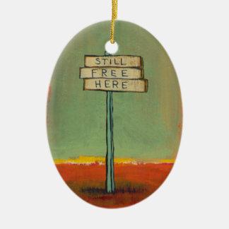 Free thinker libertarian freedom sign painting art christmas ornament