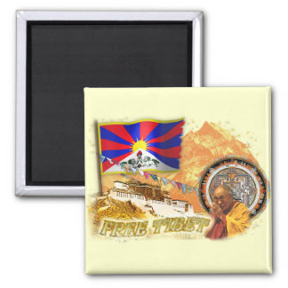 Free Tibet 2 Inch Square Magnet