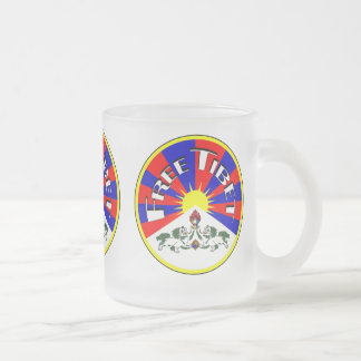 Free Tibet Badge 10 Oz Frosted Glass Coffee Mug