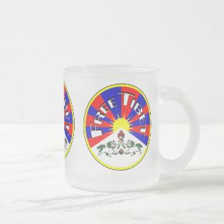 Free Tibet Badge Frosted Glass Coffee Mug