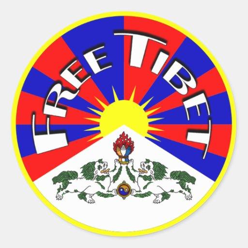 Free Tibet Badge Round Stickers
