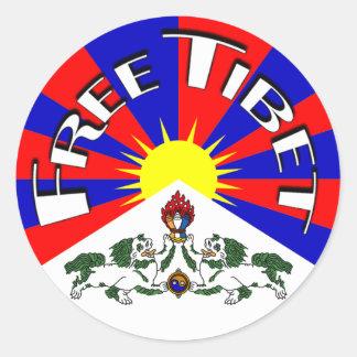 Free Tibet Badge Classic Round Sticker