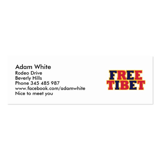 Free Tibet Double-Sided Mini Business Cards (Pack Of 20)