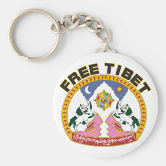 Free Tibet Emblem Basic Round Button Keychain