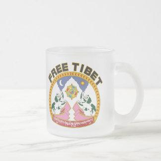 Free Tibet Emblem Frosted Glass Coffee Mug