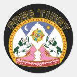 Free Tibet Emblem Round Stickers