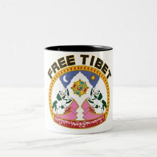 Free Tibet Emblem Two-Tone Coffee Mug