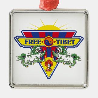 Free Tibet Flag Logo Christmas Tree Ornaments