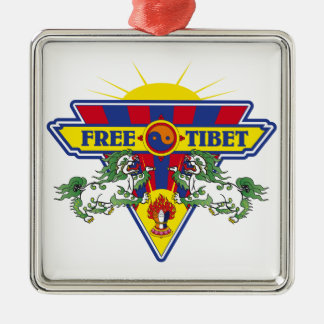 Free Tibet Flag Logo Metal Ornament