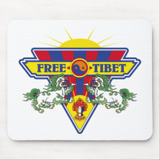 Free Tibet Flag Logo Mouse Pads