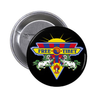Free Tibet Flag Logo Pinback Button