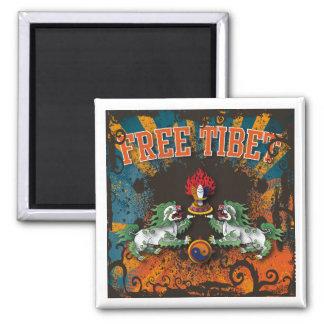 Free Tibet Grunge Art 2 Inch Square Magnet