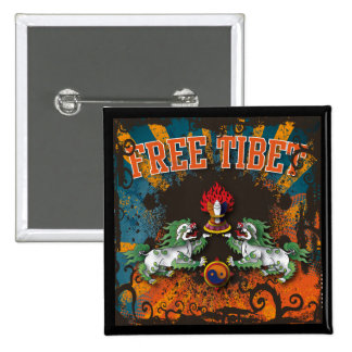 Free Tibet Grunge Art 2 Inch Square Button