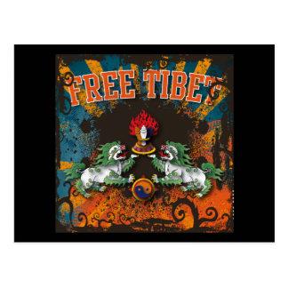 Free Tibet Grunge Art Postcard
