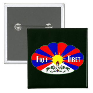 Free Tibet Label 2 Inch Square Button