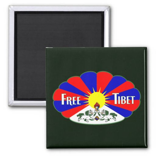 Free Tibet Label 2 Inch Square Magnet