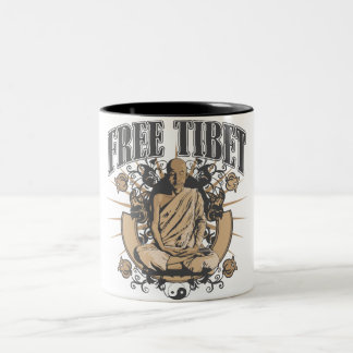 Free Tibet Monk Two-Tone Coffee Mug
