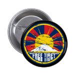Free Tibet Round Grunge Buttons