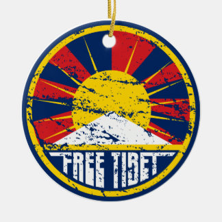 Free Tibet Round Grunge Christmas Ornaments