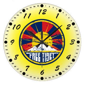 Free Tibet Round Grunge Large Clock