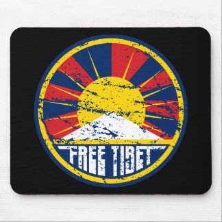 Free Tibet Round Grunge Mousepads