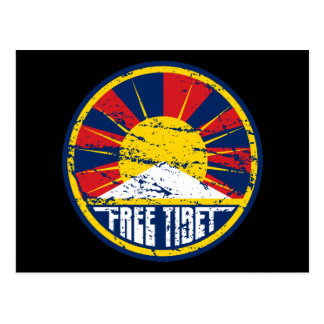Free Tibet Round Grunge Postcard