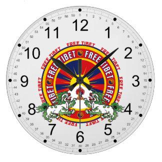 Free Tibet Round Logo Large Clock