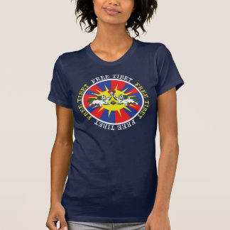 Free Tibet Snow Lions and Independence Slogan Shirt