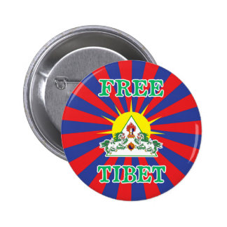 Free Tibet Snow Lions and Sun Symbol Pinback Button