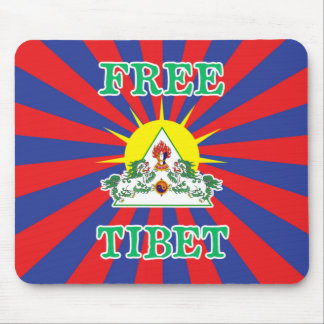 Free Tibet Snow Lions and Sun Symbol Mouse Pad