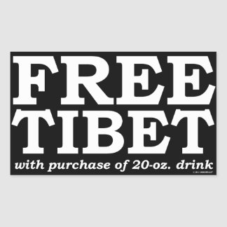 FREE TIBET with purchase of 20-oz. drink Rectangular Sticker