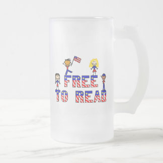 Free to Read w Kids Frosted Mug, 2 sizes 16 Oz Frosted Glass Beer Mug
