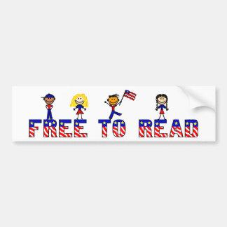 Free to Read w Stick Kids Bumper Sticker