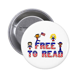 Free to Read w Stick Kids Buttons,2 shapes,6 sizes Pinback Button