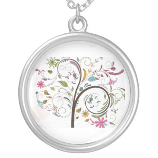 Free-tree-vector-illustration-free--freebie--vecto Round Pendant Necklace
