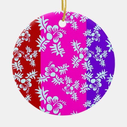 Free Vector Seamless Flower Pattern2 Double-Sided Ceramic Round Christmas Ornament