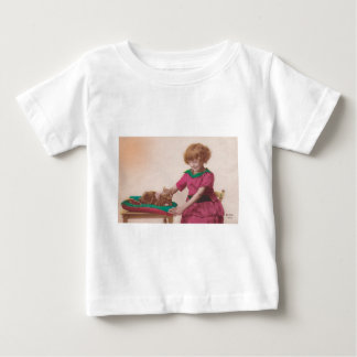 free vintage printable - girl and cat photo tinted baby T-Shirt
