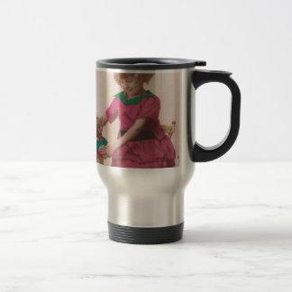 free vintage printable - girl and cat photo tinted mug