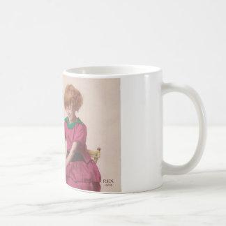 free vintage printable - girl and cat photo tinted mugs