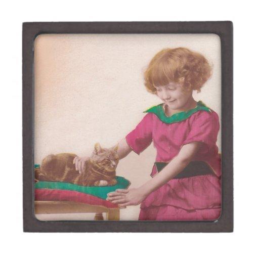 free vintage printable - girl and cat photo tinted premium trinket boxes