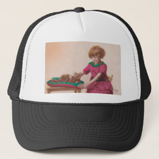 free vintage printable - girl and cat photo tinted trucker hat