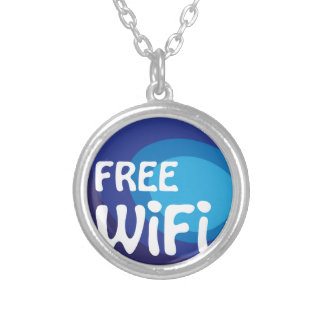 Free wifi Abstract vector Round Pendant Necklace