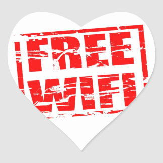 Free wifi red rubber stamp effect heart sticker